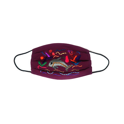Adult Embroidered Face Mask - Purple