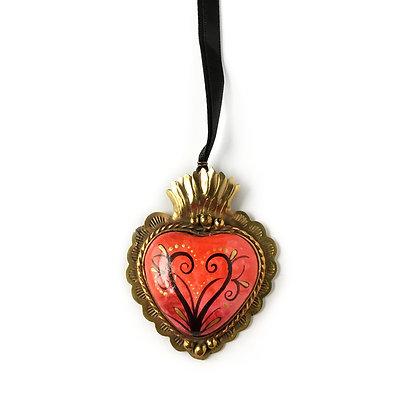 Sacred Heart Pendant - Large Rojo