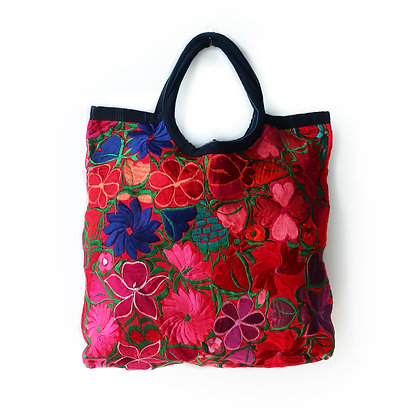 Embroidered Emily Tote Bag - Red