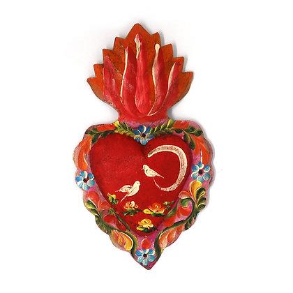 Tin Painted Milagro Heart - Lrg