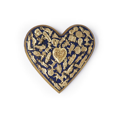 Wood Heart with Milagros (L) - Blue
