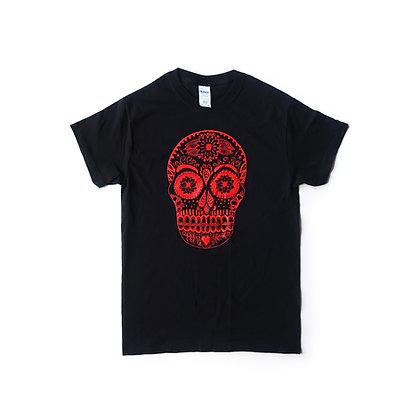 Red Sugar Skull T-shirt - Black