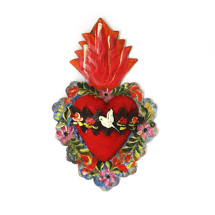 Tin Painted Milagro Heart - Med