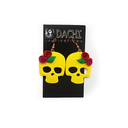 Large Skull Earrings - Yellow