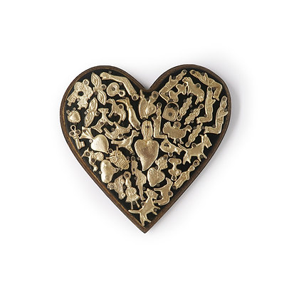 Wood Heart with Milagros (L) - Black