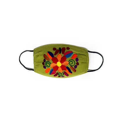 Kids Embroidered Face Mask - Green
