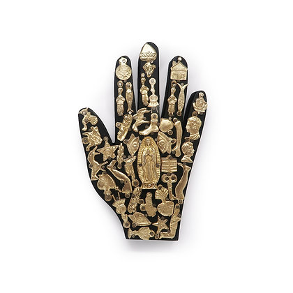 Wood Hand with Milagros (L) - Black