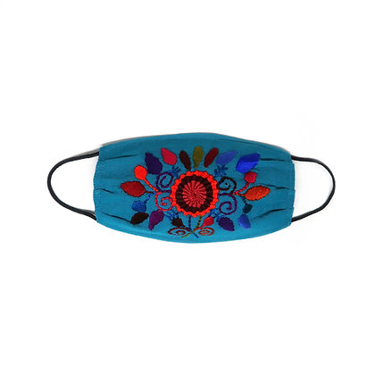 Kids Embroidered Face Mask - Turquoise