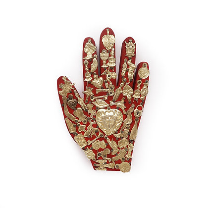 Wood Hand with Milagros (L) - Red