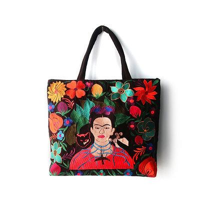 Embroidered Frida Tote Bag - Black