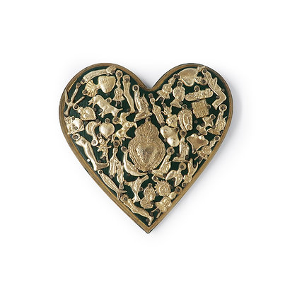 Wood Heart with Milagros (L) - Green