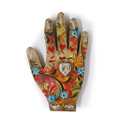 Painted Wood Milagro Hand (L)