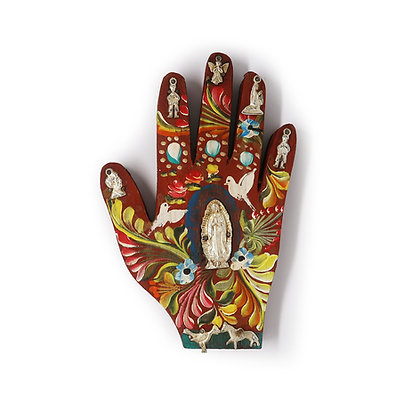 Painted Wood Milagro Hand (M)