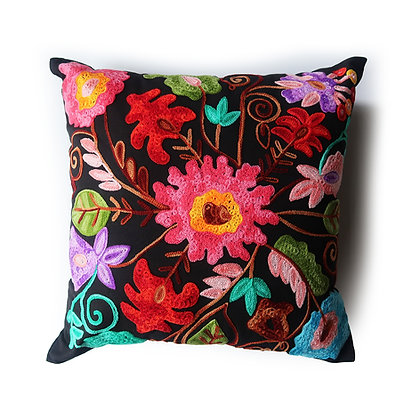"Embroidered Flower 17"" Pillow"