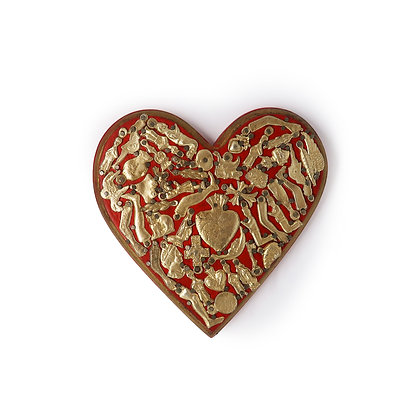 Wood Heart with Milagros (L) - Red