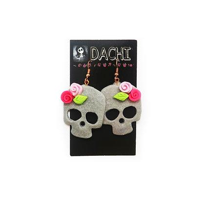 Large Skull Earrings - Gray