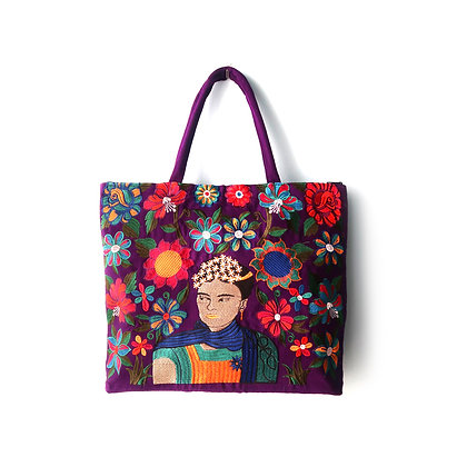 Embroidered Frida Tote Bag - Purple