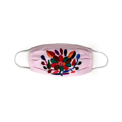 Kids Embroidered Face Mask - Pink