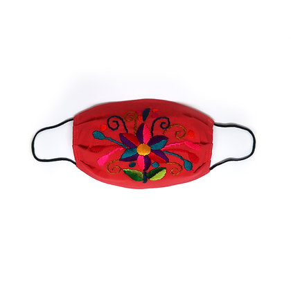Adult Embroidered Face Mask - Red