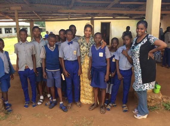 Ola with schoolchildren