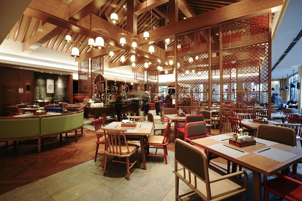 Restaurant interior, part of hotel, Asia