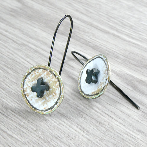 RBJE45 Long Hook Earrings with Disc and Cross