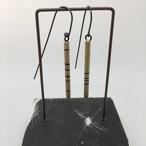 RBJE67 Brass Rod Earrings with Stripes