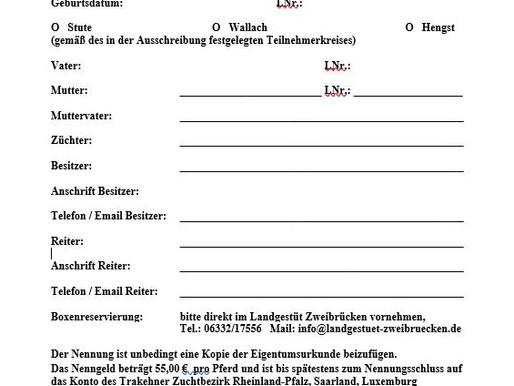 Anmeldeformular zur Stutenleistungs- und Remonteprüfung v. 31.08.2019 im Landgestüt Zweibrücken
