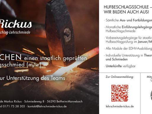 Ein weiterer Förderer des Zuchtbezirks: Hufbeschlag-Lehrschmiede Rickus