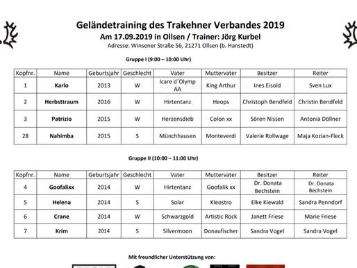 Vorläufige Zeiteinteilung - Trainingstag, 17.09.2019 in Ollsen (Niedersachsen) - Sichtungsinitiative