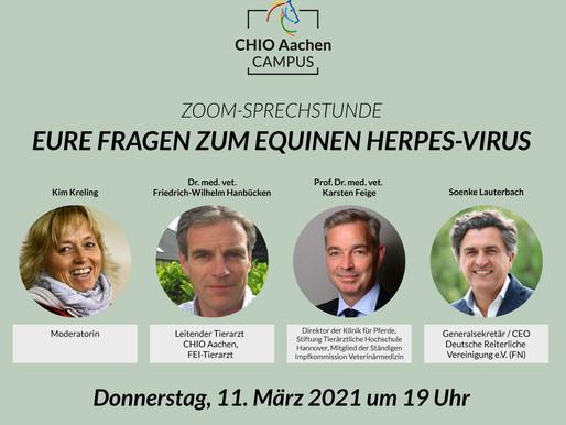 Heute Abend, den 11.03.21 um 19 Uhr, Zoom-Sprechstunde - Ihre Fragen zum Equinen Herpes-Virus