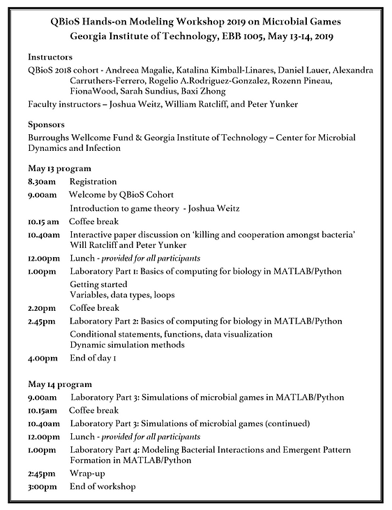 Schedule for Georgia Tech's Quantitative Biosciences Hands-On Modeling Workshop on Microbial Games