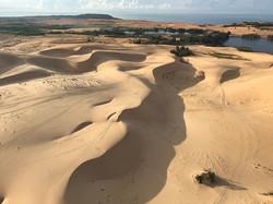 white sand dunes from balloon, Muine