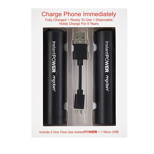 "Instant Power (2pk) + 3.5"" Micro USB-to-USB Cord"