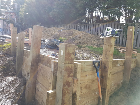 Retaining wall built (Posts still need trimming to height) and ready to level section