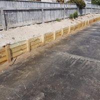 Basic retaining along driveway