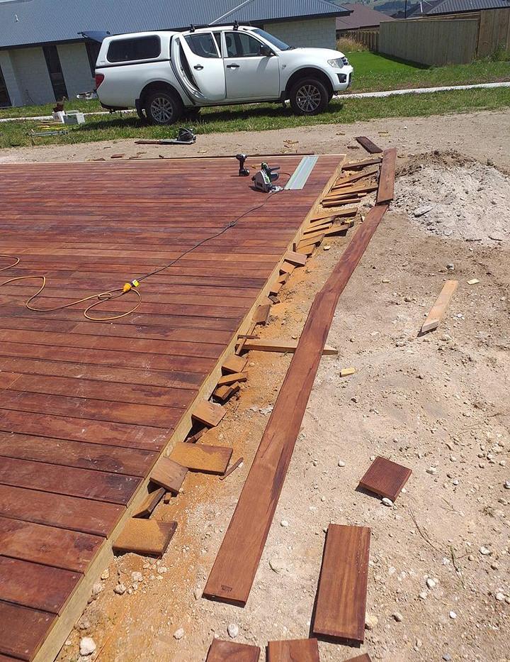 Kwila deck built in Wharewaka