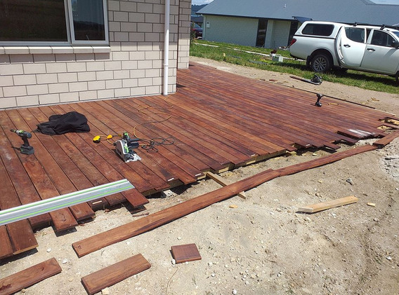 Kwila deck  built and ready to trim