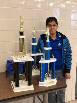 Anish with his Trophies!
