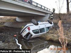 FOTO Alkohol a divoká JAZDA: Vozidlo s mladíkom skončilo v koryte pod mostom!
