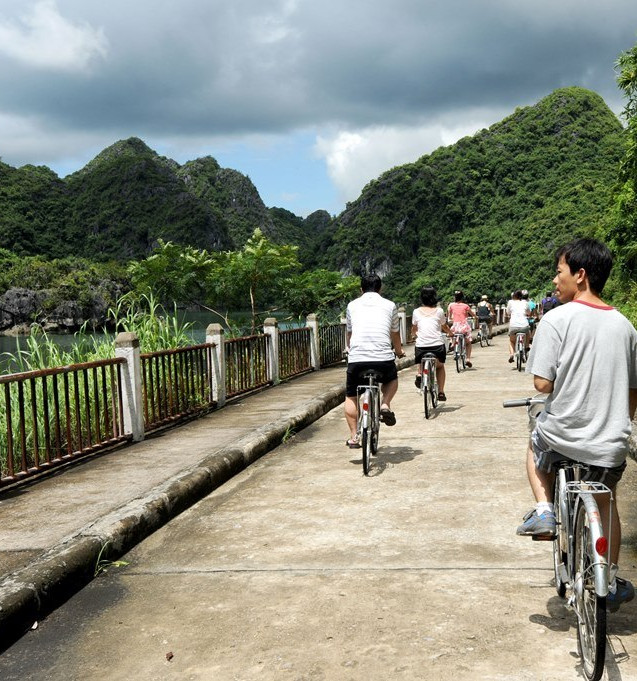 Ride bicycles around the rainforest and rice fields of the local farmers.