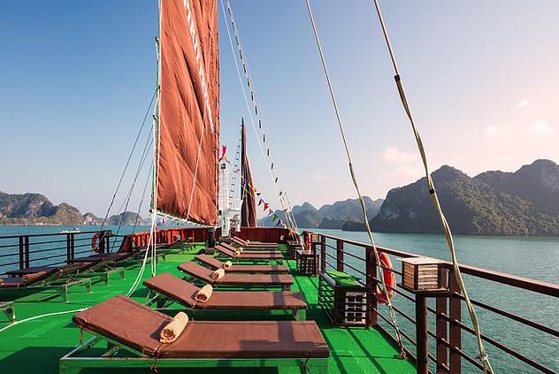 Enjoy the best views of Halong bay from several sun decks.