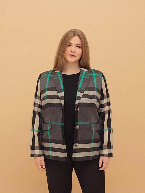 Single-Breasted Jacket in Check
