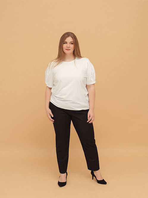 T-shirt with Pleated Sleeves in White