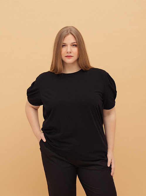 T-shirt with Pleated Sleeves in Black
