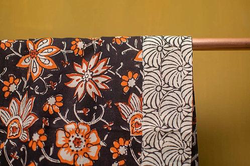 Foulard Dupatta Orange Flower