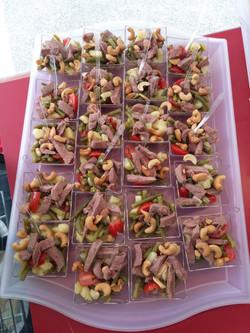 Cocktail salade de haricots verts au magret de canard