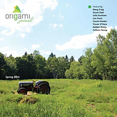 Cover of Origami Journal Spring 2014 tractor sitting in field surrounded by trees