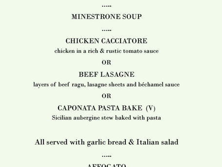 Bookings now being taken for Italian Night...
