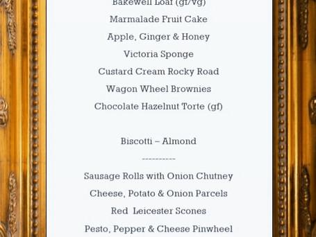 This weekend's menu